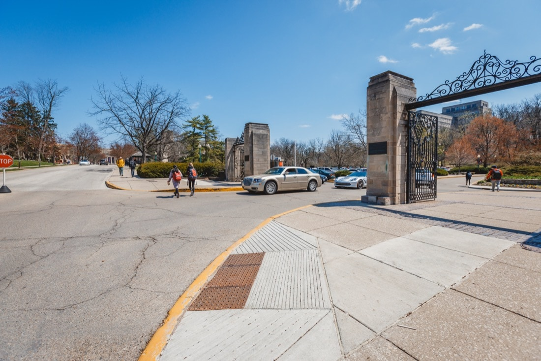 limestone pillars flanking the entrance to the IMU driveway and parking lot.